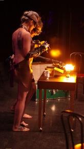 Ave Machina and Annie O'Roar conduct scientific experiments at ABurlyQ 2016.