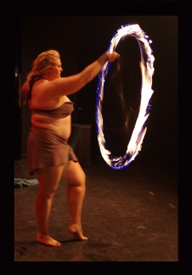 Trixy Rene spins her staff on a string at ABurlyQ 2017.