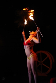 Ave Machina eats fire at Rebelle Alliance Doc Wilson's Medicine Show.